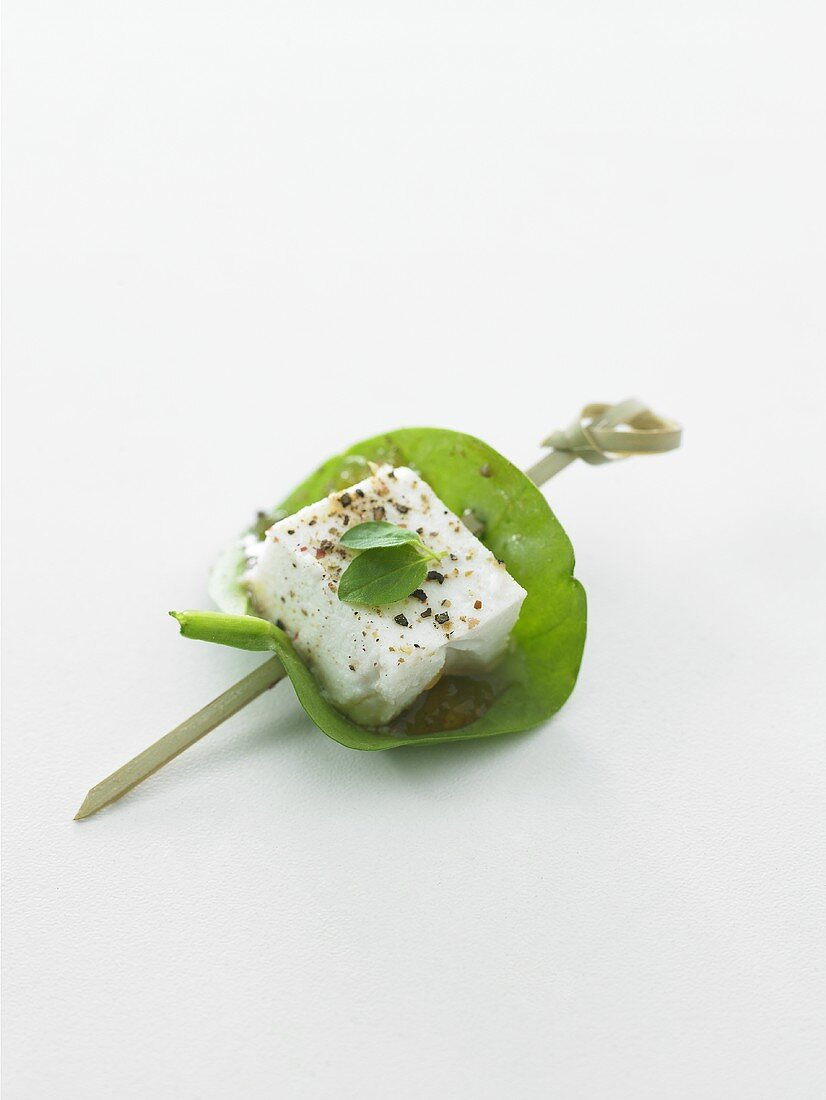 Brocciu & basil on cocktail stick (goat or sheep's cheese, Corsica)