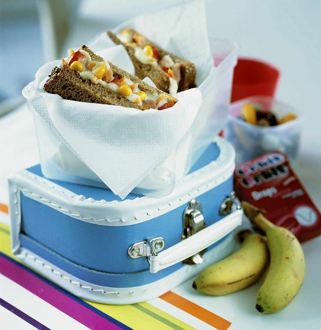School lunch: sandwiches, fruit and sweets, with lunch box