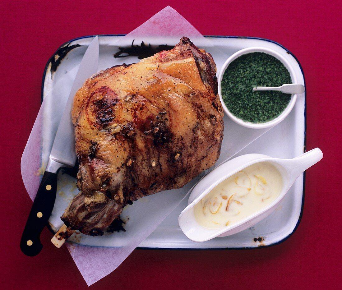 Leg of lamb with shallot sauce and mint sauce