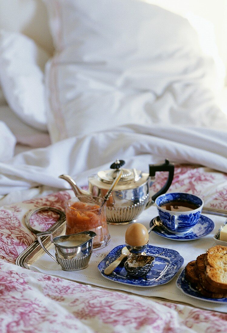 Breakfast tray on a bed