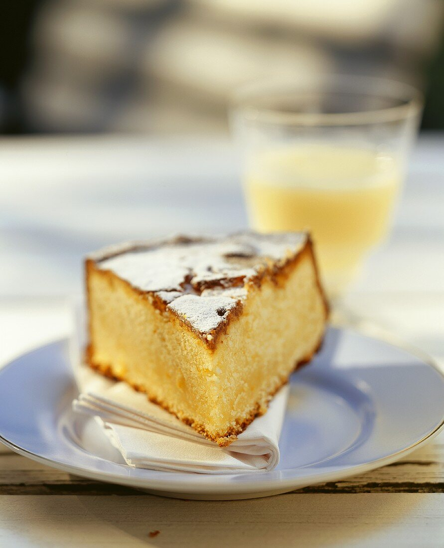 A piece of lemon cake