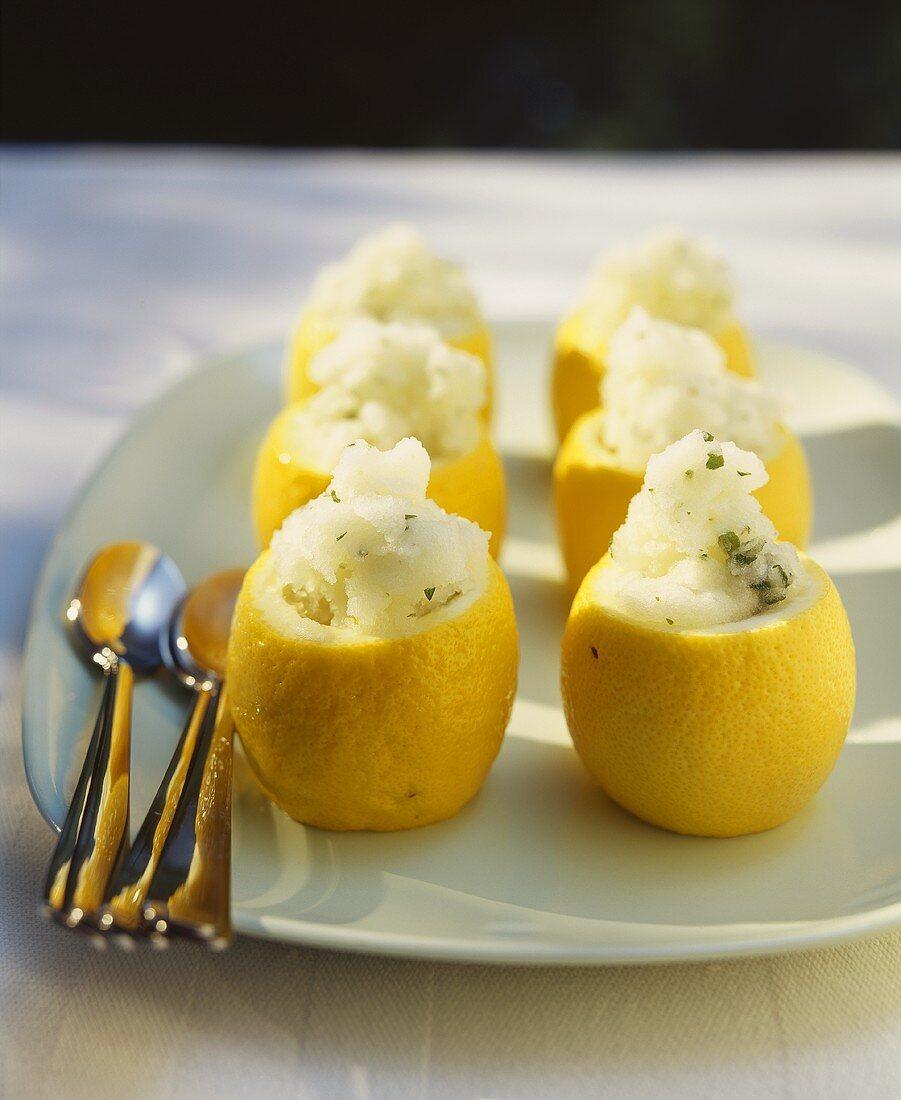 Lemon sorbet in hollowed-out lemons