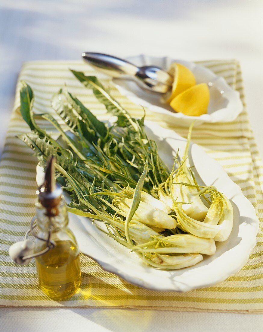 Catalogna salad with lemon juice and olive oil