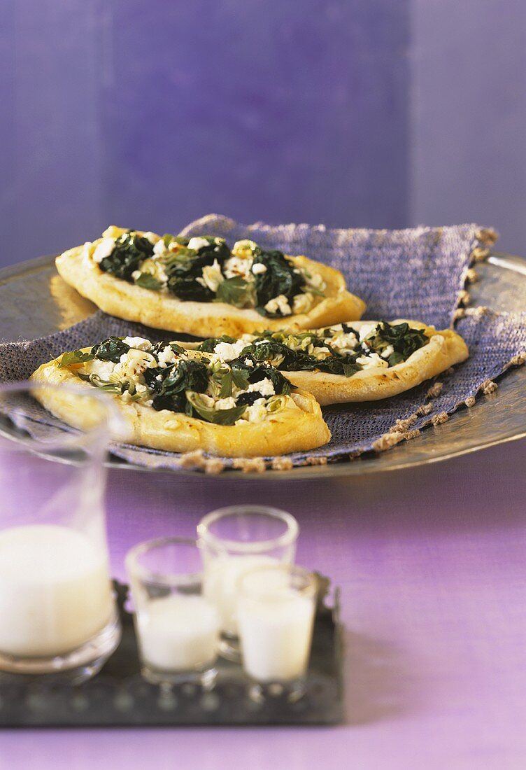 Pide with feta cheese and spinach
