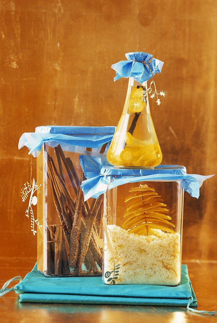 Chocolate-dipped cinnamon sticks, orange sugar, kumquat liqueur