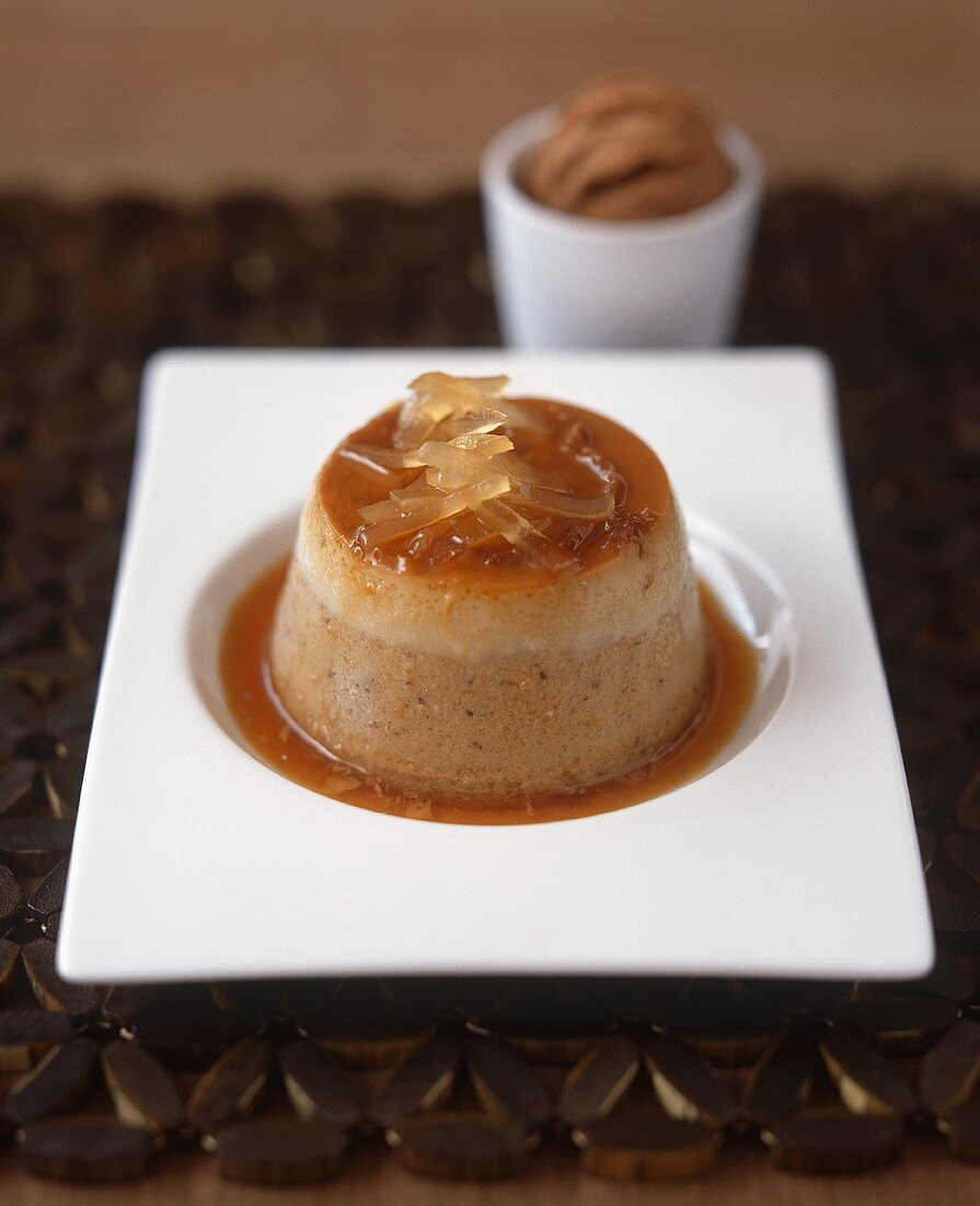 Chestnut pudding with ginger syrup