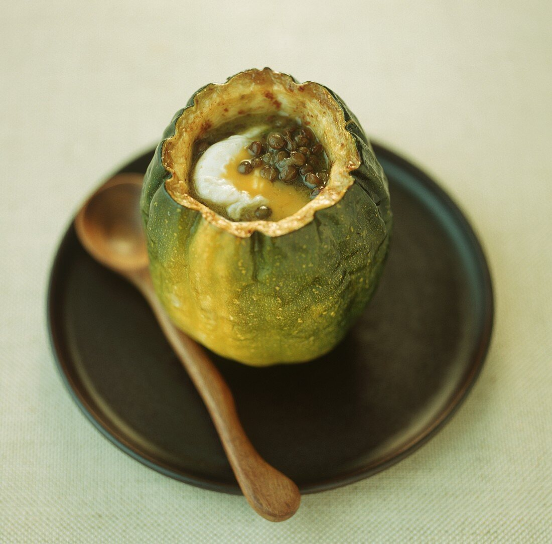 Acorn squash stuffed with lentils and ricotta