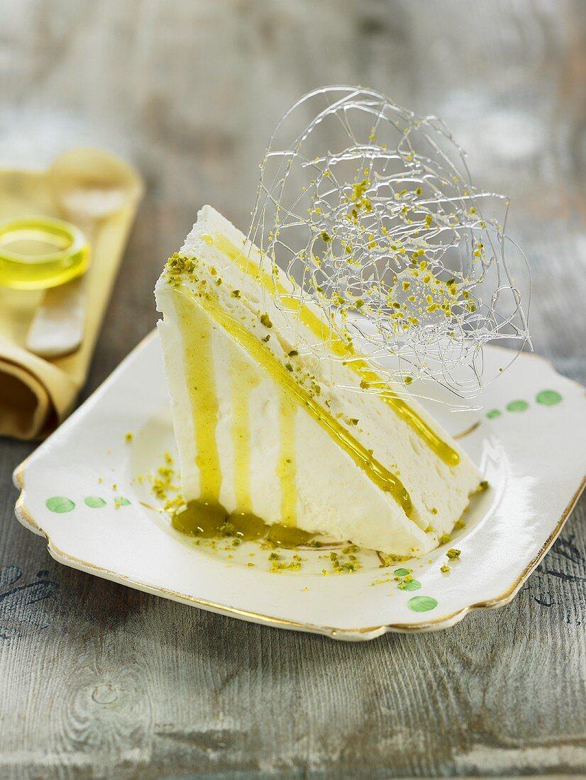 Lemon mousse with pistachio syrup