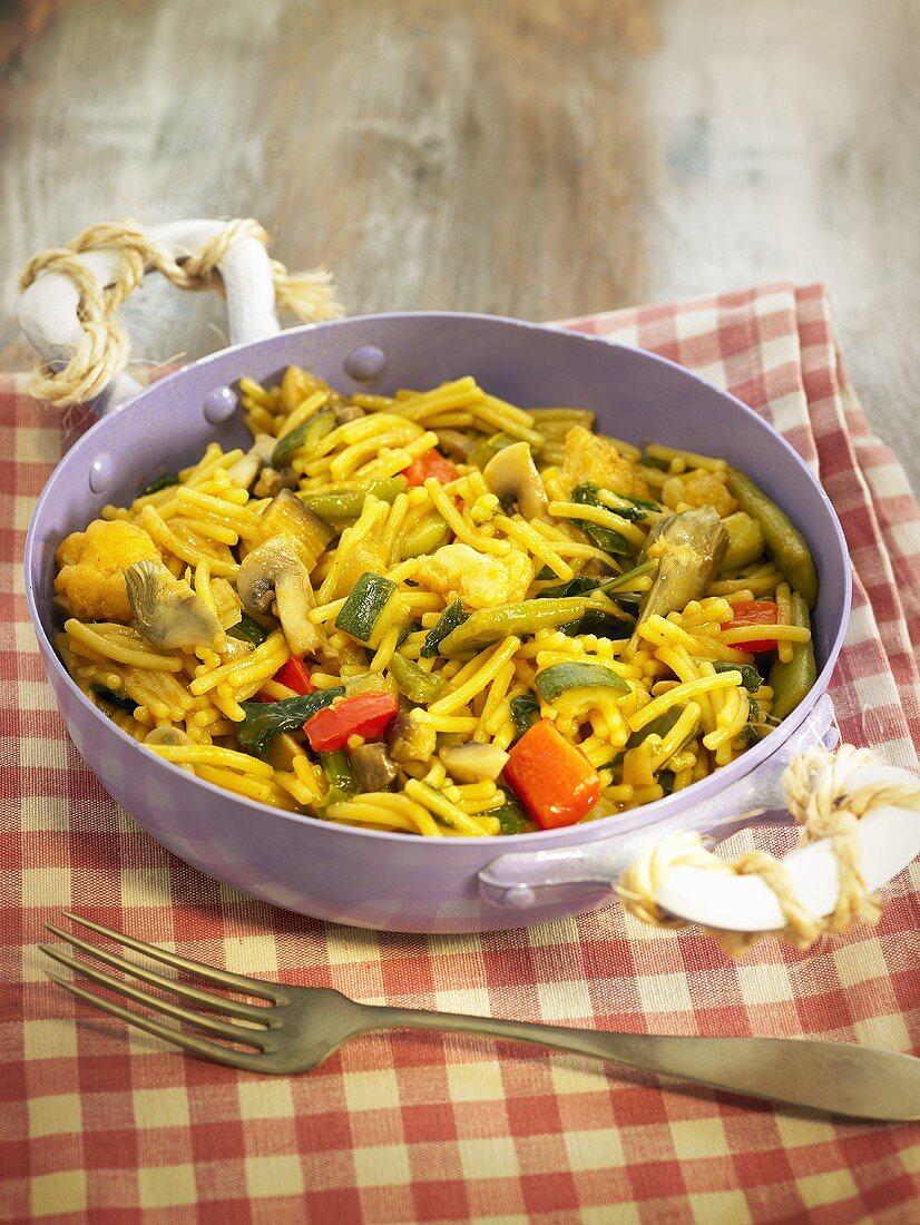 Fiduea (pasta paella, Spain) with vegetables