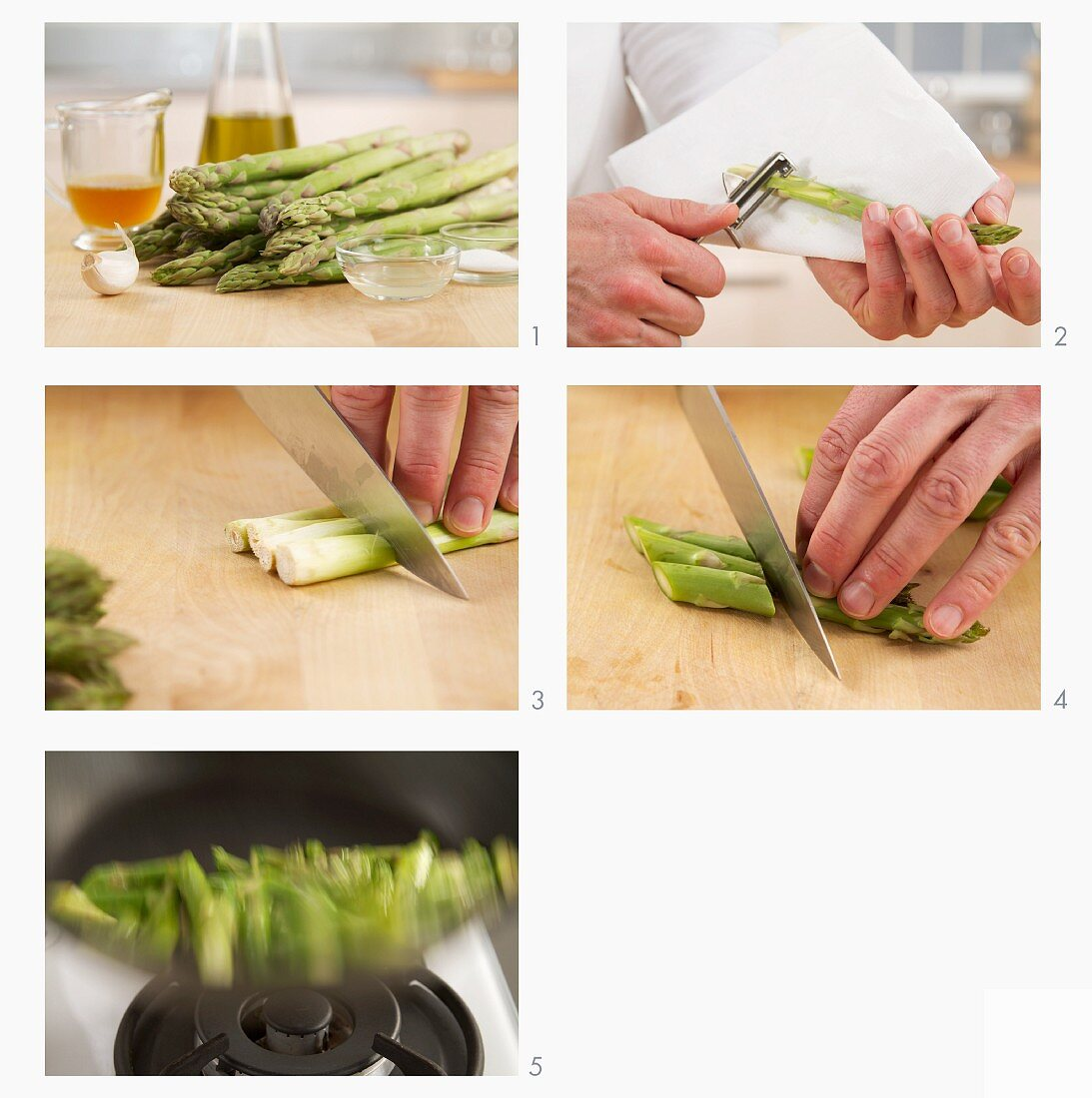 Green asparagus being cooked in a pan