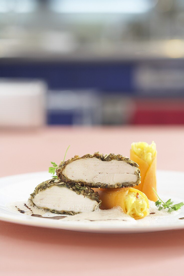 Roast corn-fed chicken with a pumpkin crust with pumpkin and saffron herb cannelloni