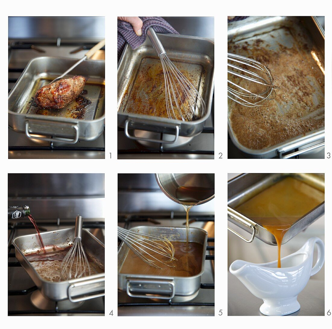 Gravy being made from meat juices