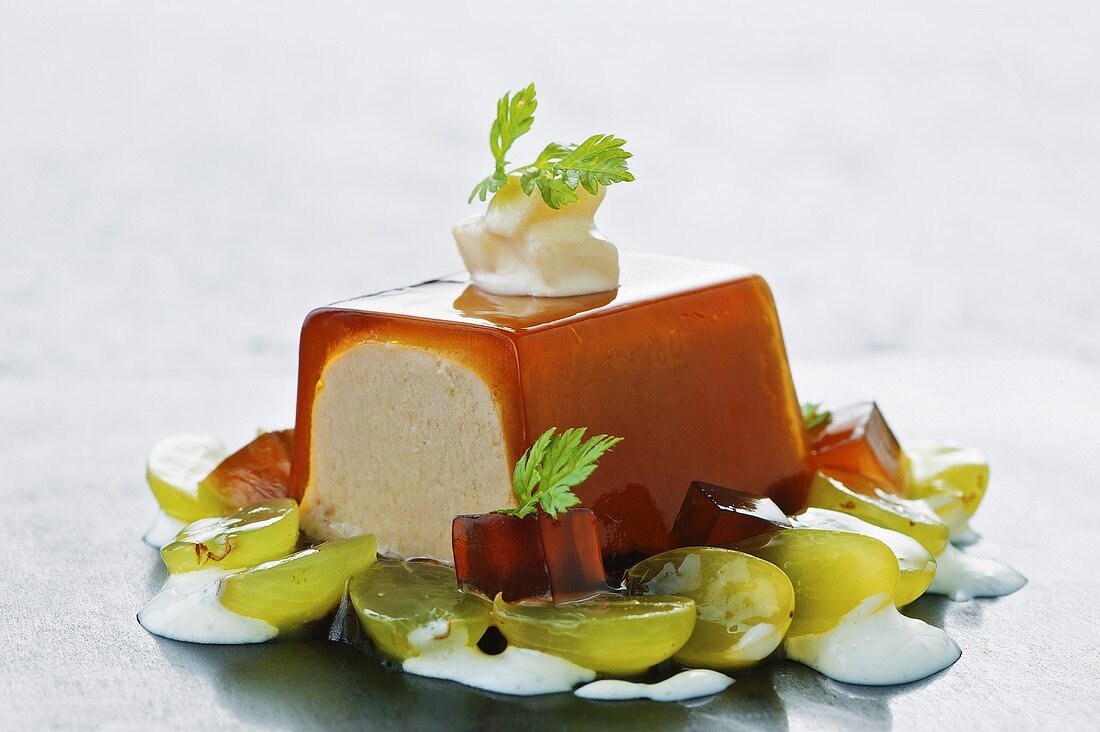 Liver terrine with sweet wine jelly and grapes