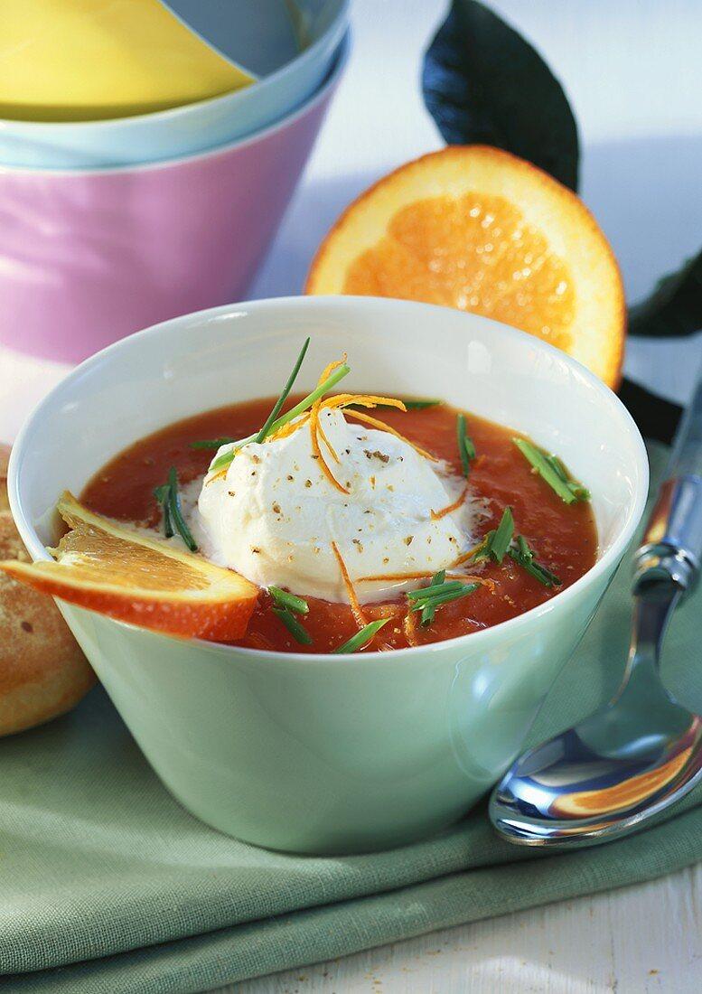 Orange and tomato soup with cream