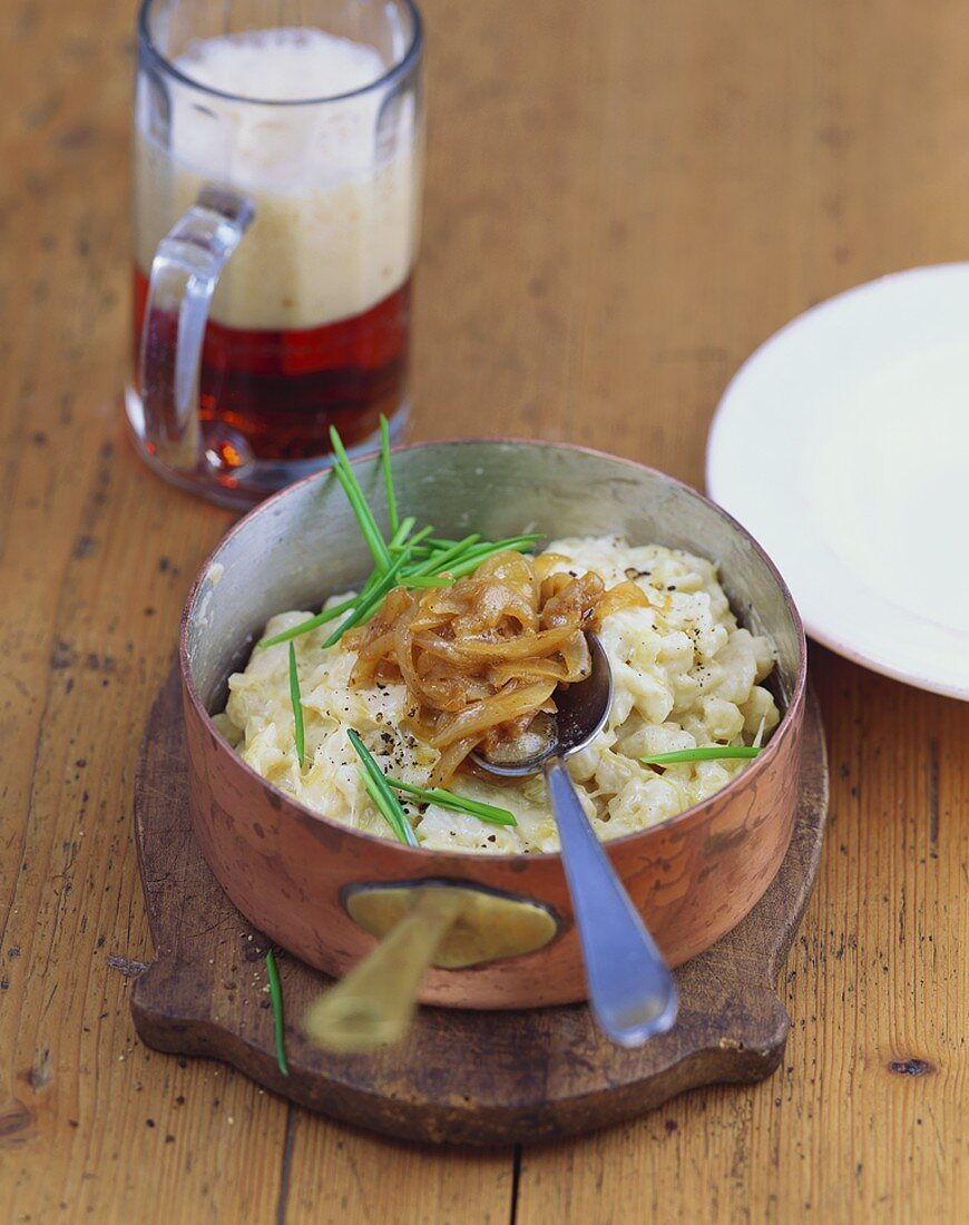 Cheese & sauerkraut spaetzle (home-made noodles) with onions