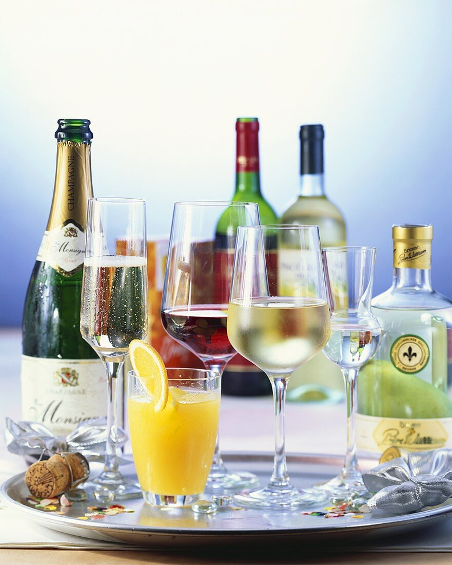 Various alcoholic drinks for a party