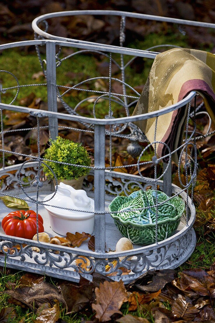 Terrine dishes in wire basket on autumn leaves