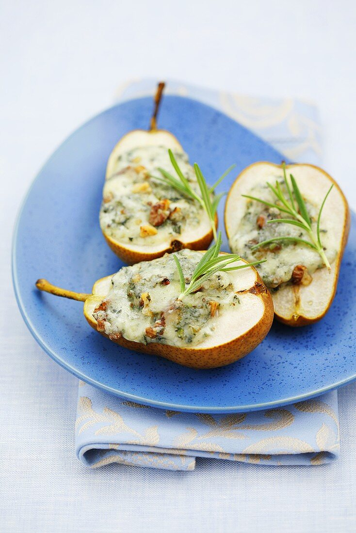 Pear halves with melted blue cheese
