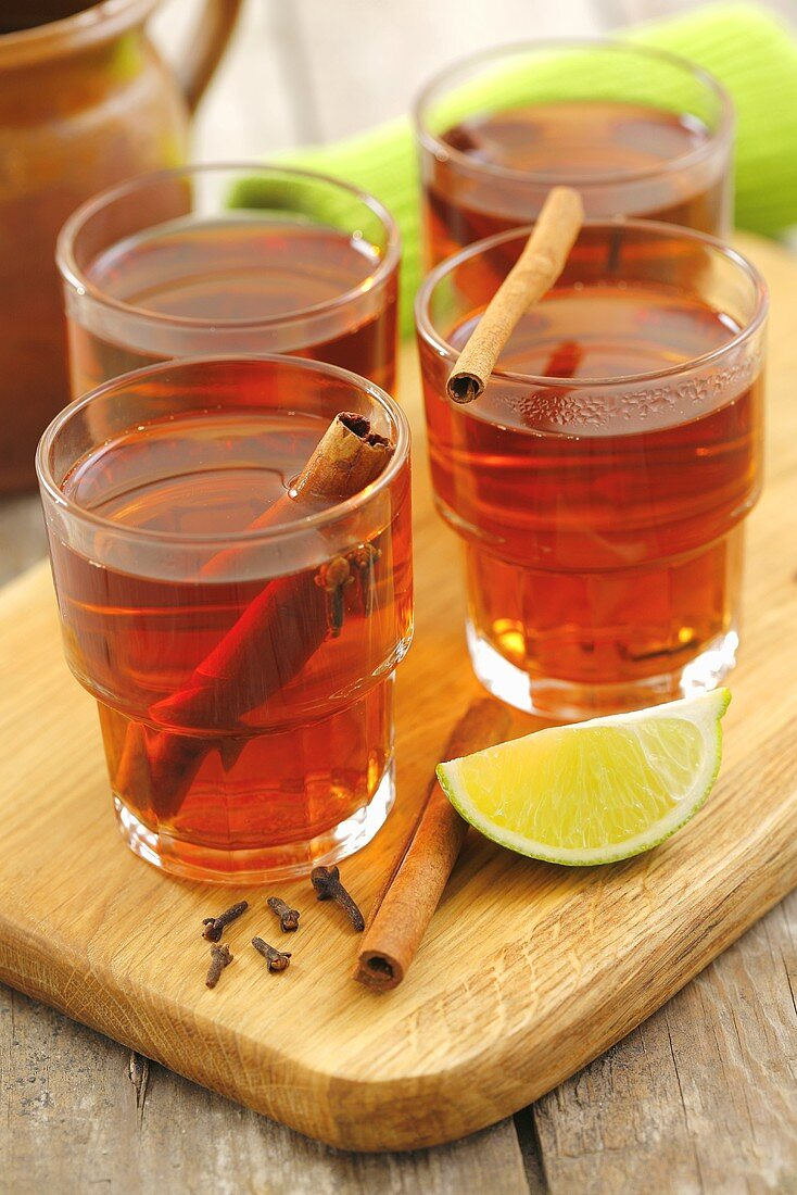 Glogg (Scandinavian mulled wine with vodka) with spices