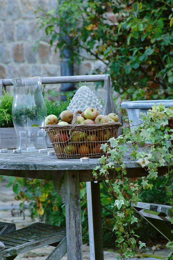Fresh apples in basket on garden table