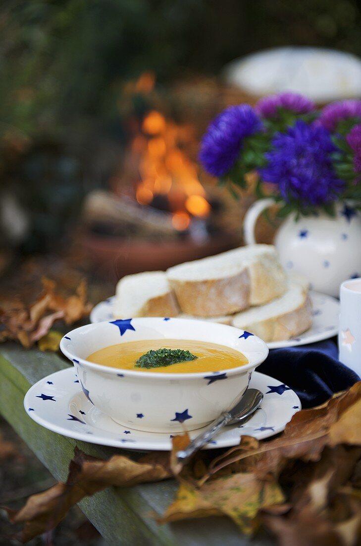 Pumpkin soup with parsley pesto