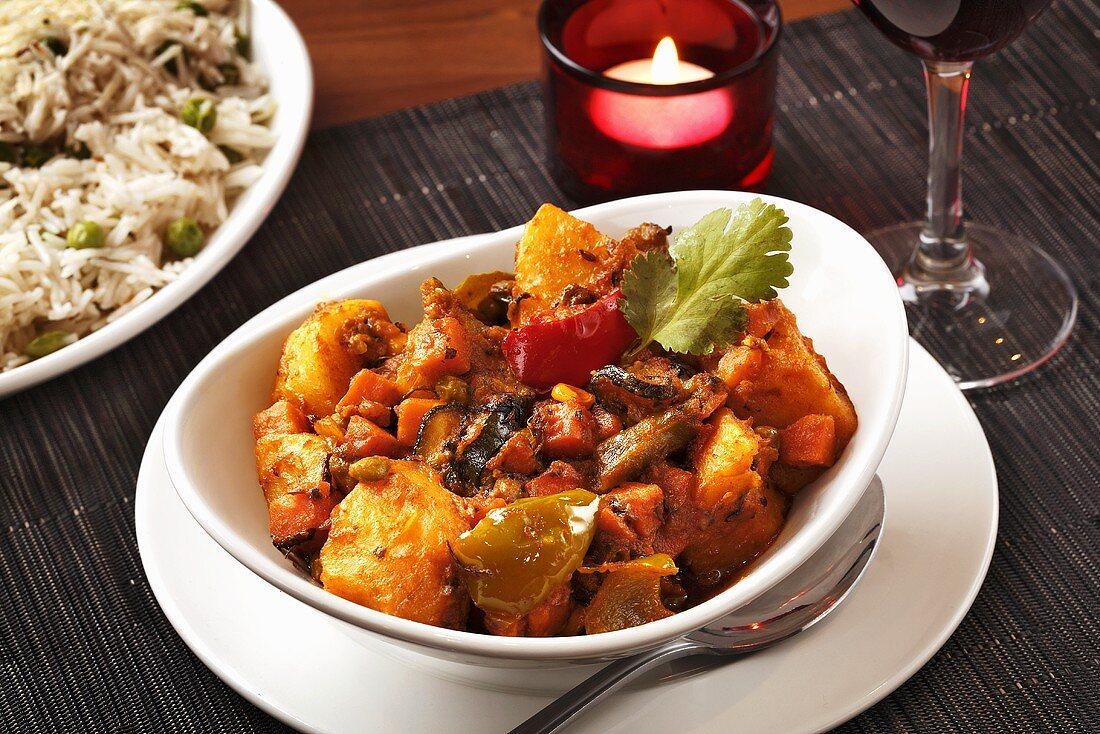 Navratan sabzi (Vegetable stew, India)