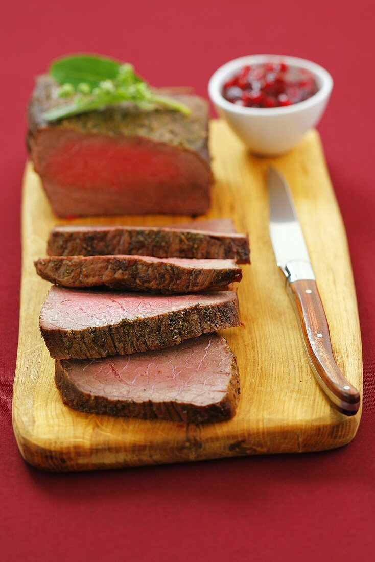 Roast beef with cranberries for Christmas
