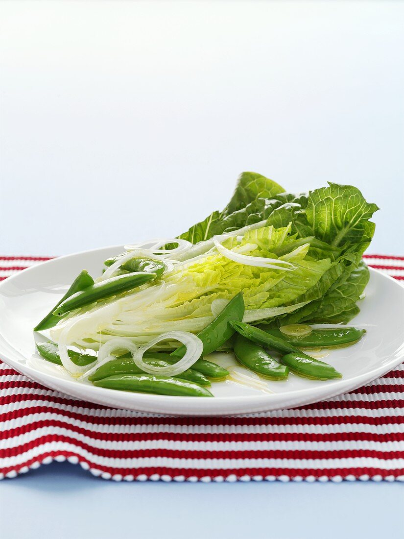 Sugar snap peas with onions and romaine lettuce