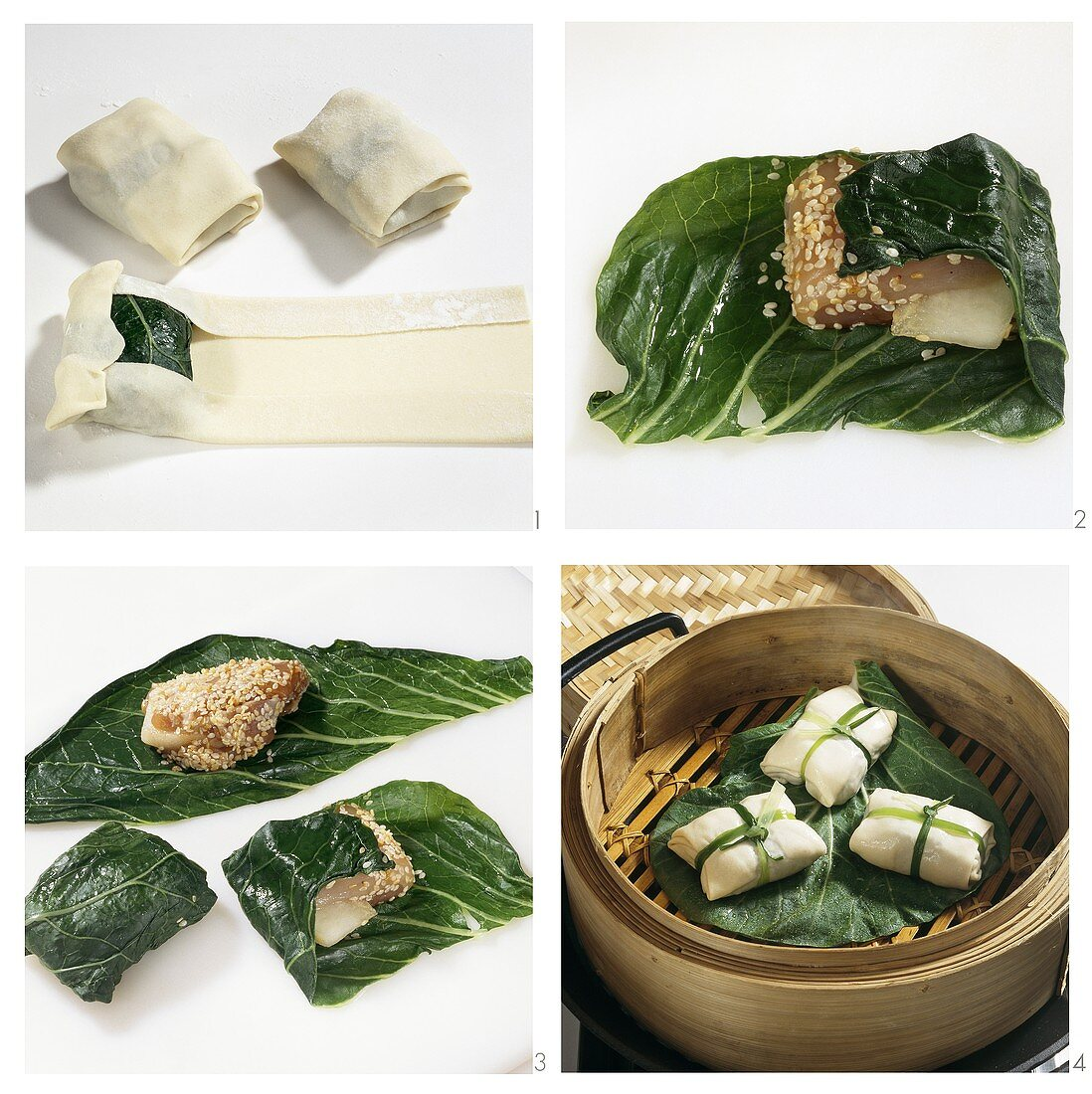 Steaming chicken breast with chard in pastry wrapper