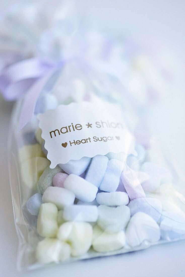 Sugar hearts in cellophane bag