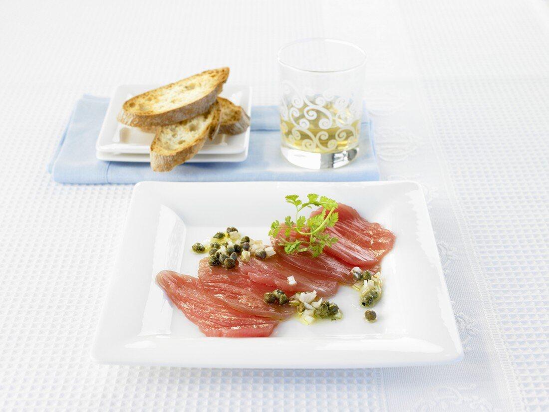 Tuna carpaccio with sherry