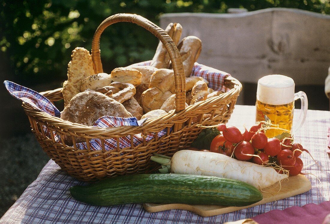Snack on a table in a beer garden