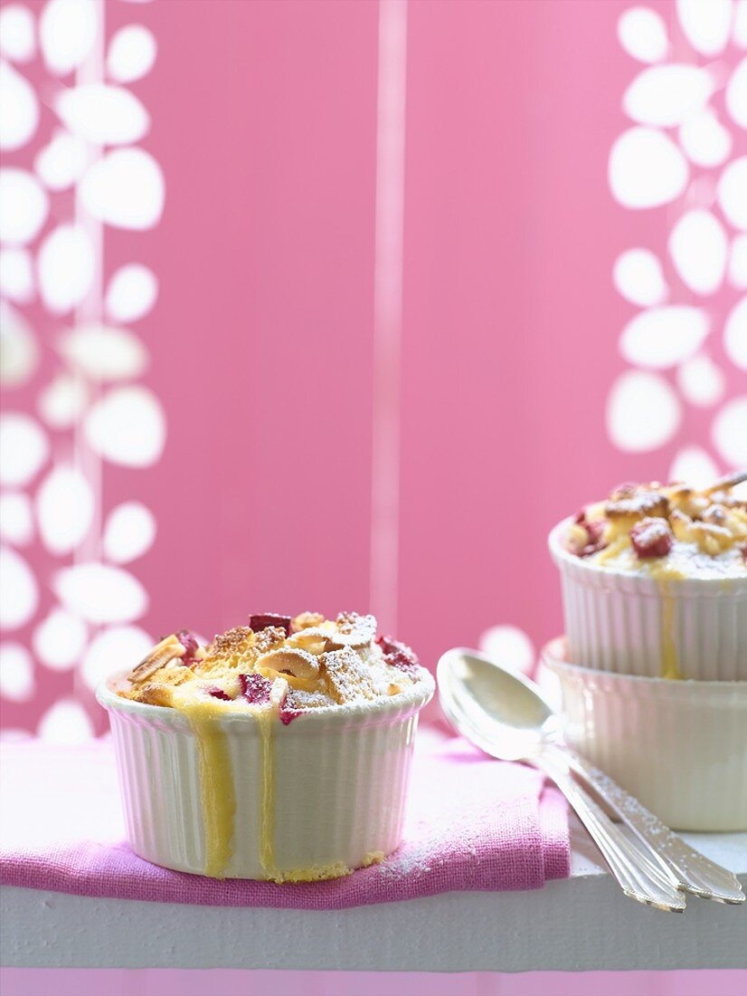 Rhubarb pudding with slivered almonds