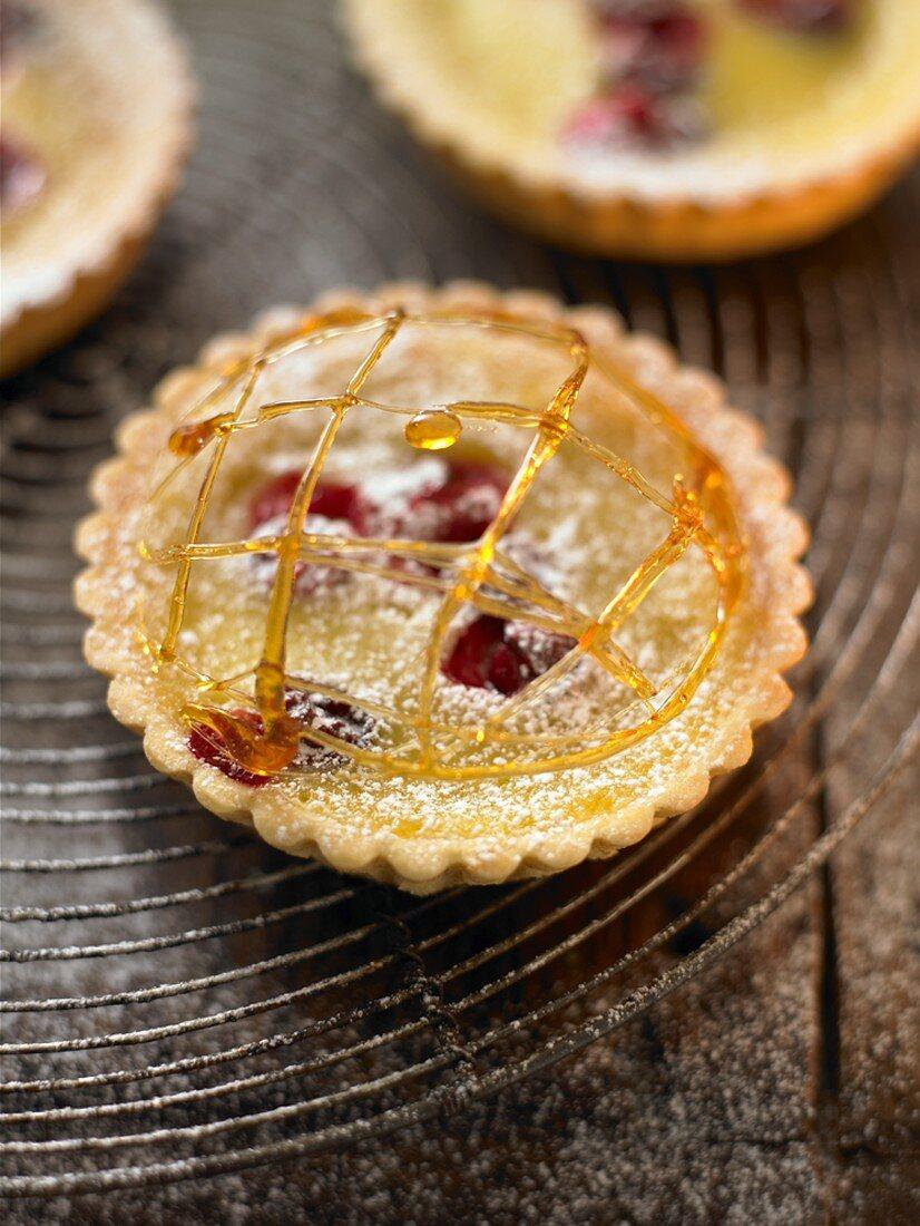 Orange and cranberry tartlet with caramel strands