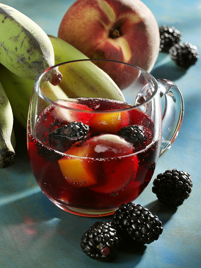 Peach and blackberry punch with banana