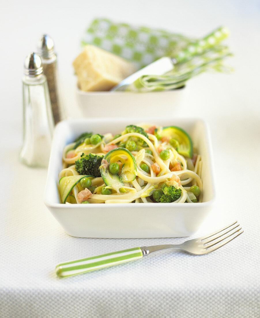 Narrow ribbon pasta with vegetables