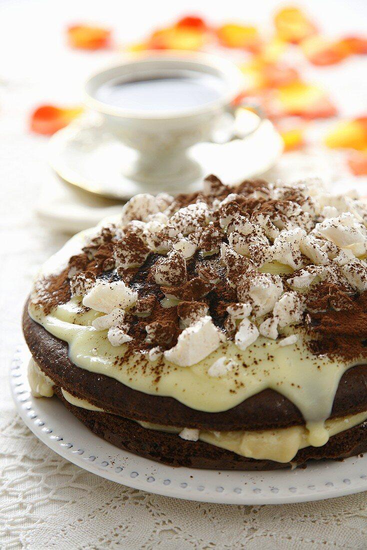 Chocolate cake with vanilla blancmange, halva and meringue