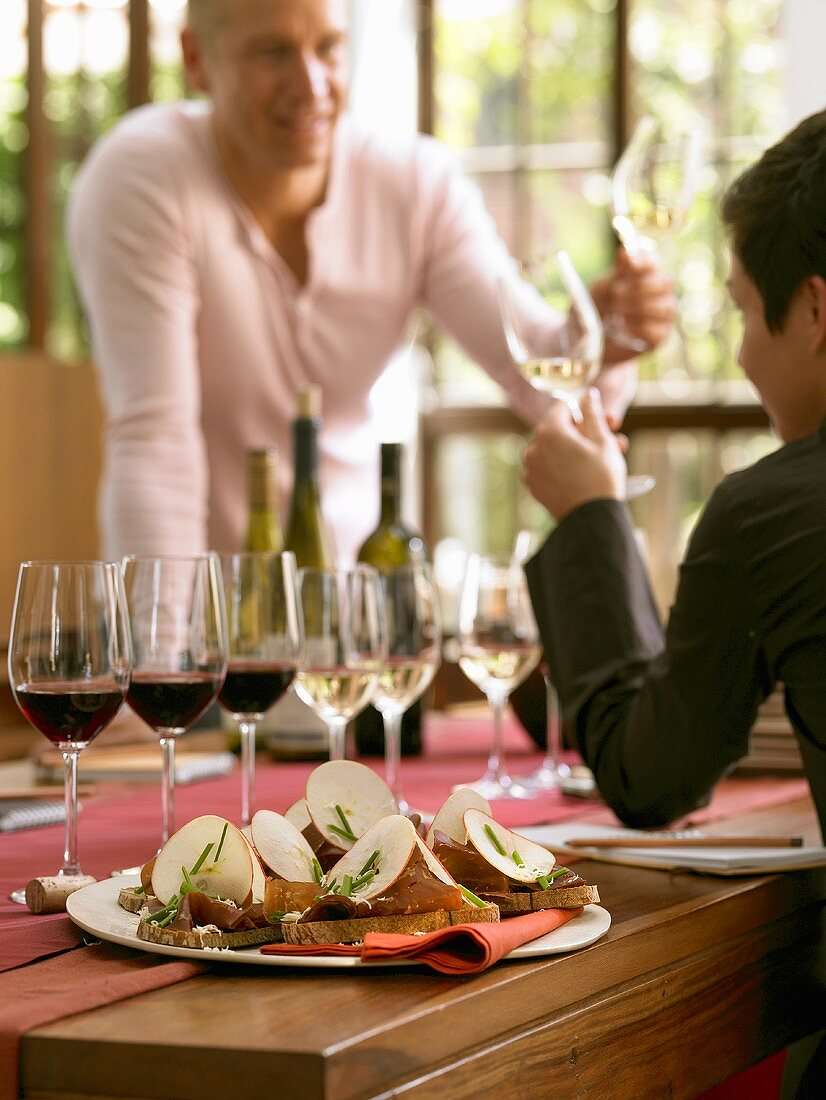 Wine tasting with open sandwiches
