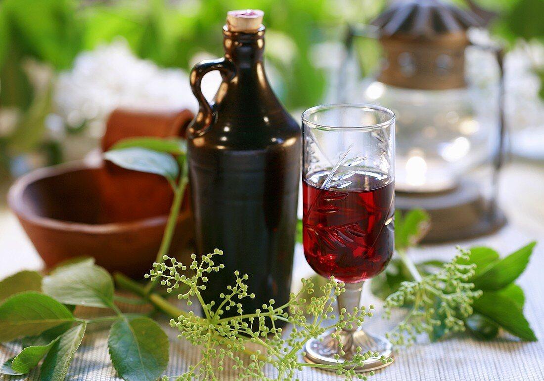 Home-made elderberry liqueur