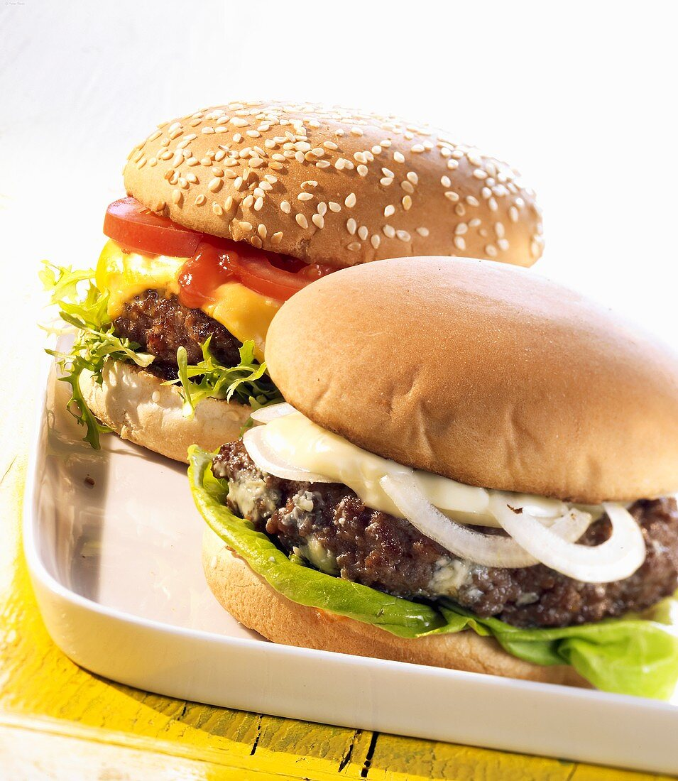 Blue cheese burger and All-American burger