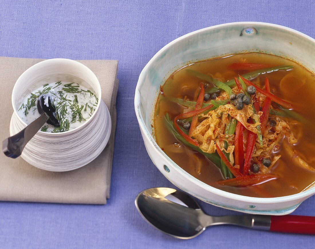 Pepper and cabbage soup with dill cream