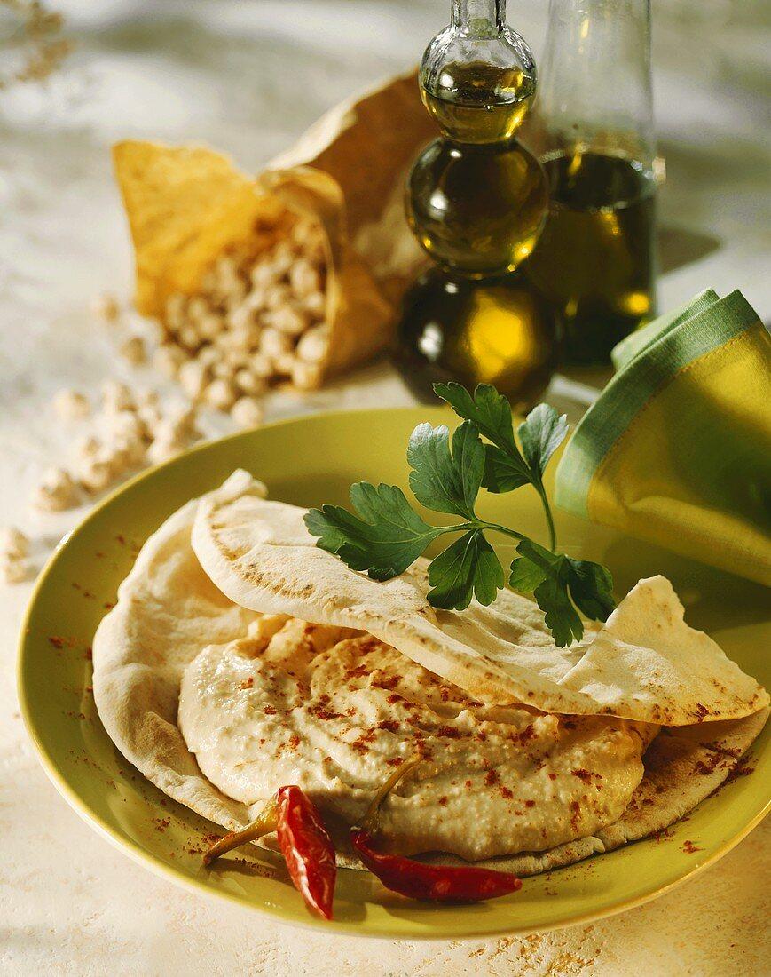 Flatbread with hummus (Chick-pea puree, Arab cuisine)