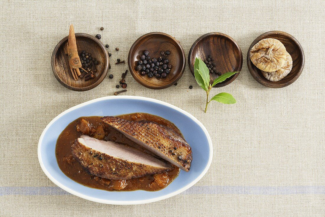 Duck breast cooked Sauerbraten style (marinated & braised)