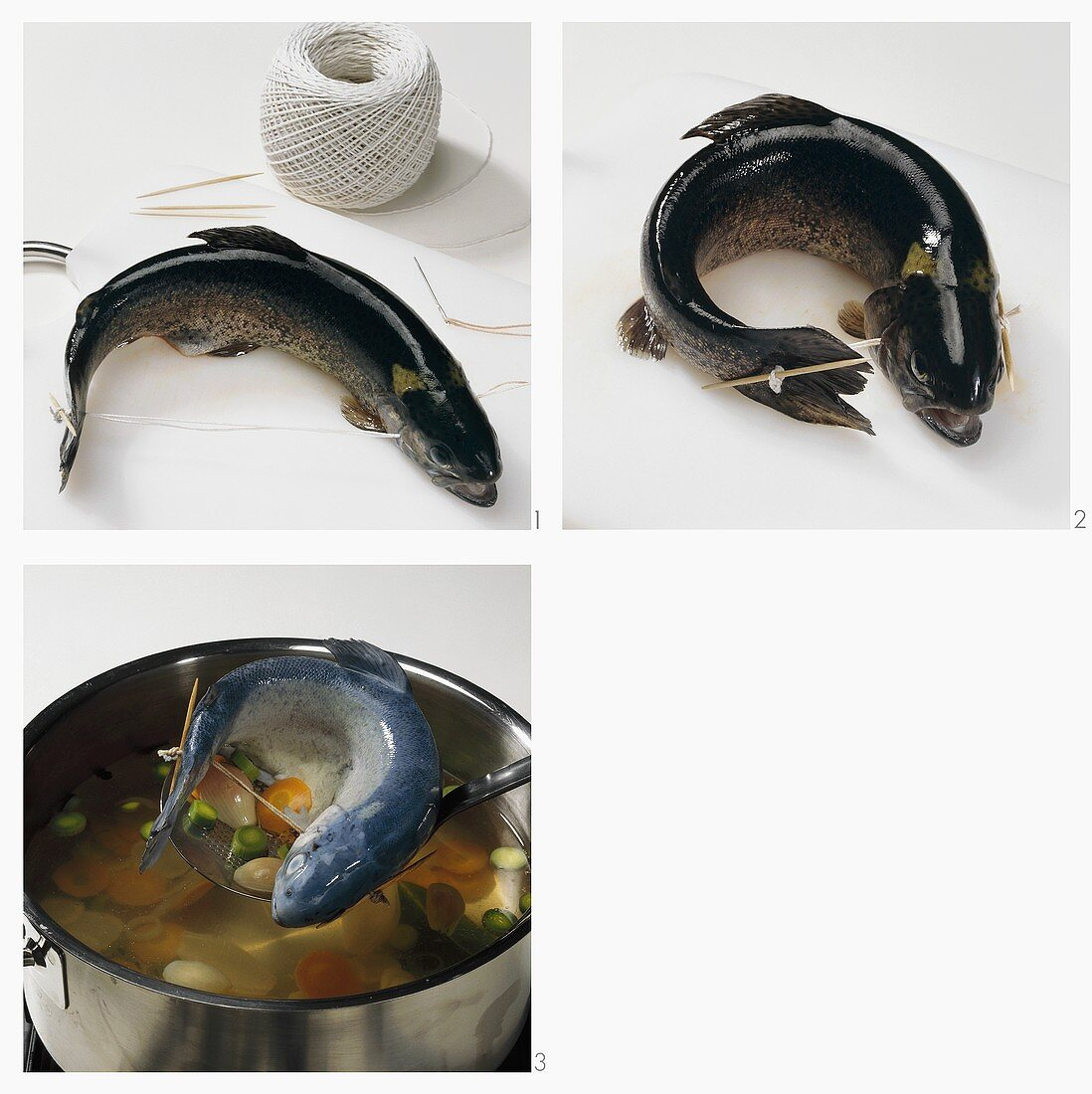Cooking trout 'au bleu' (tied mouth to tail)