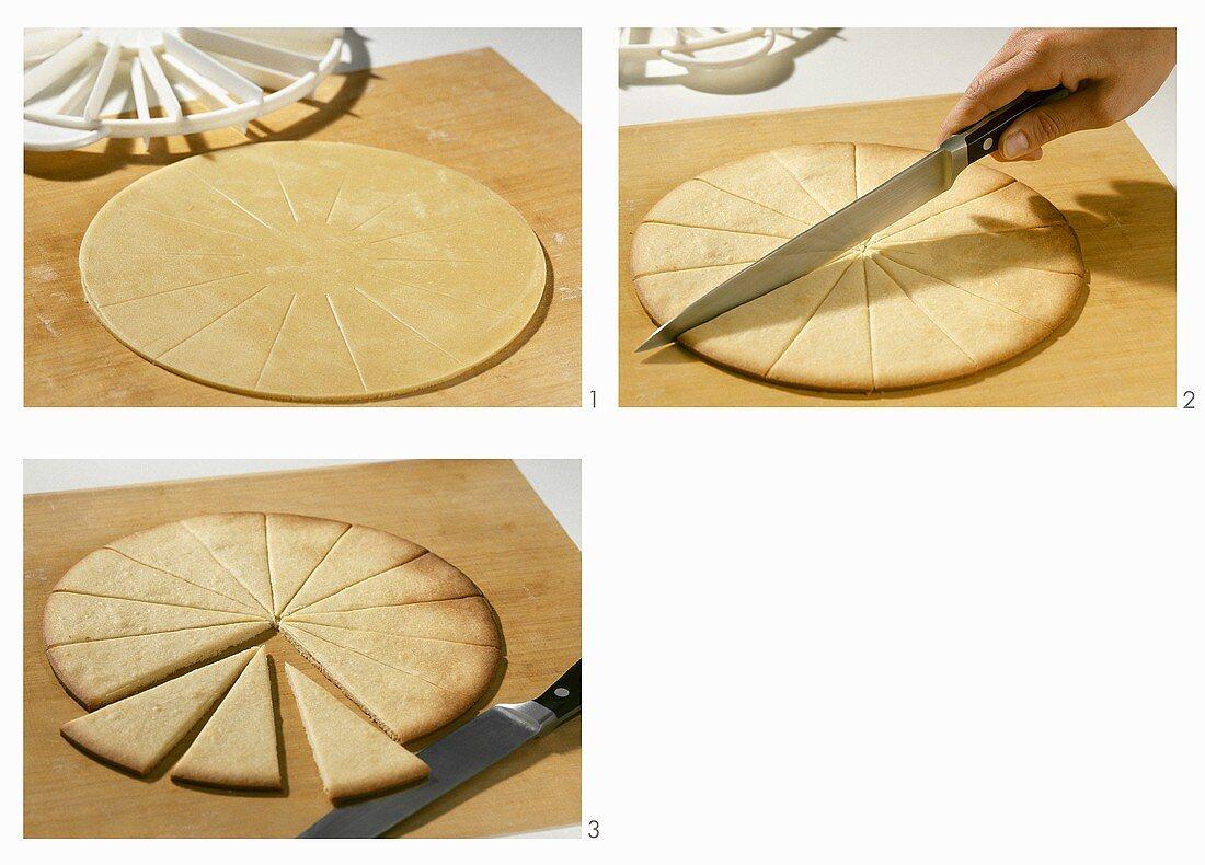 Dividing a pastry circle into segments