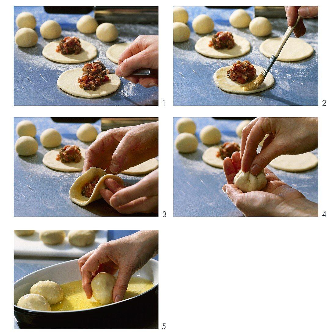 Making Buchteln (yeast dumplings) with mince filling
