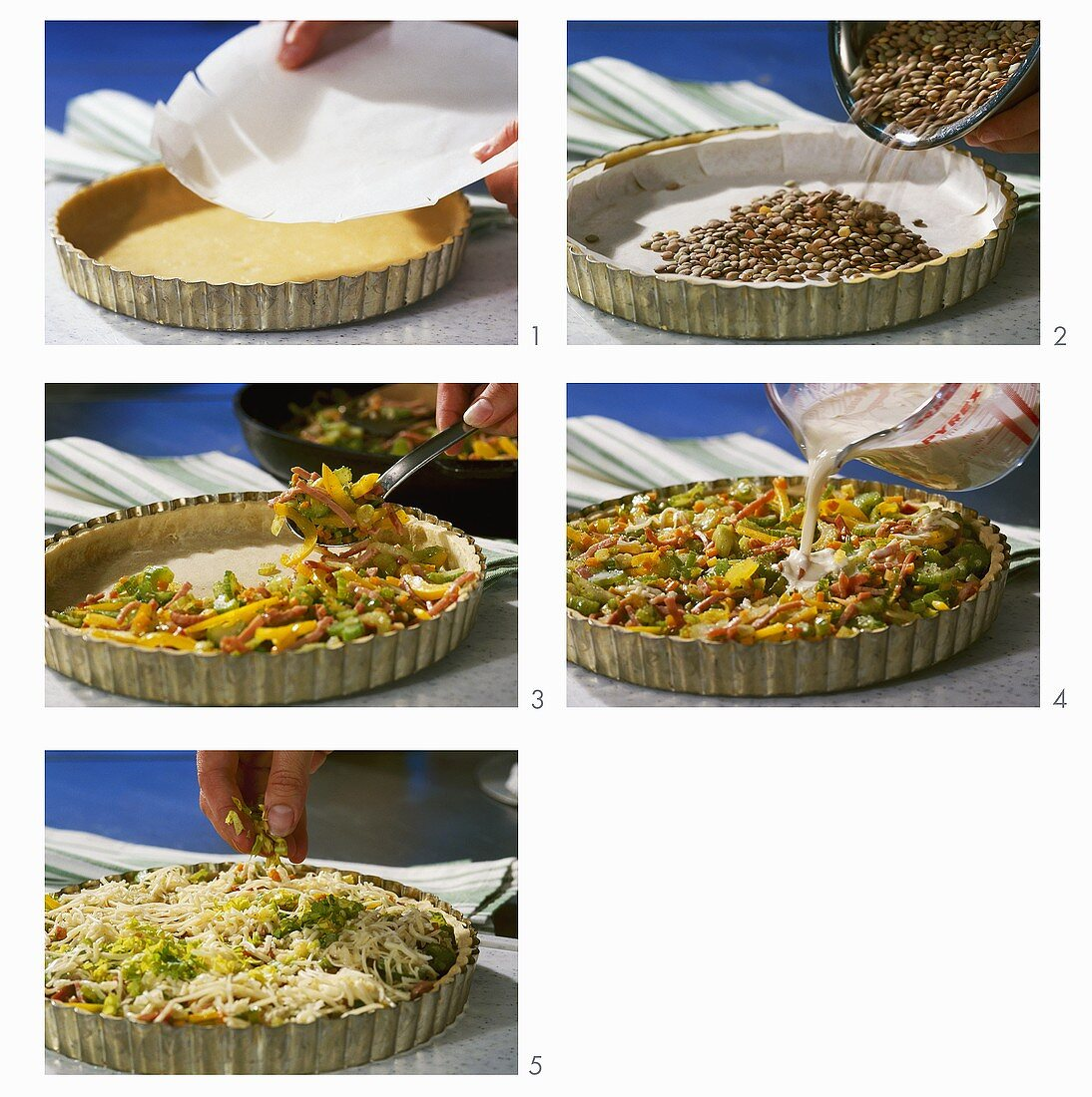 Making a vegetable quiche
