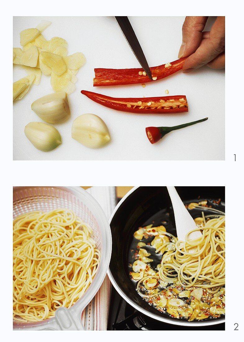 Making aglio e olio (pasta sauce with garlic, oil & chilli)