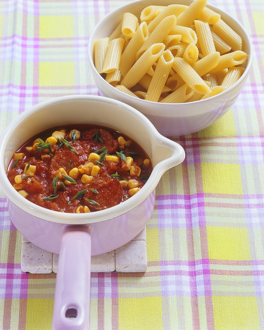 Cabanossi and sweetcorn ragout to serve with penne
