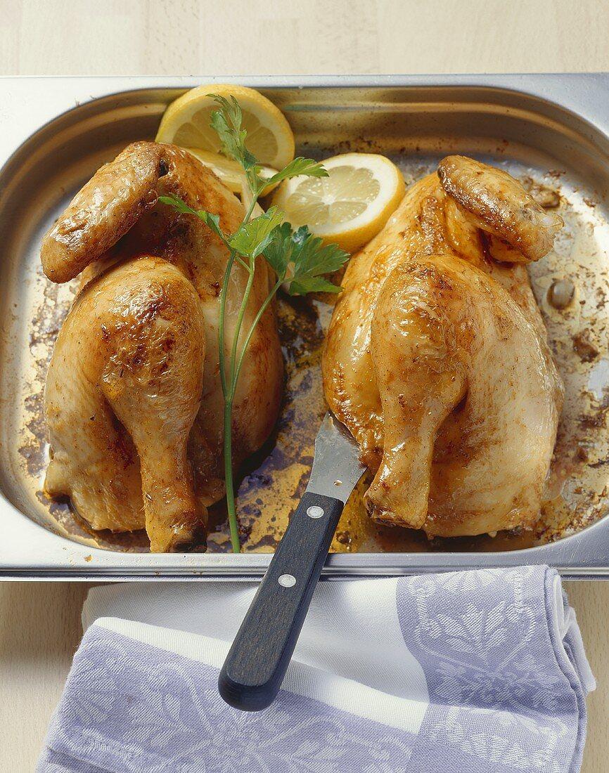 Stuffed free-range chicken with parsley and lemon